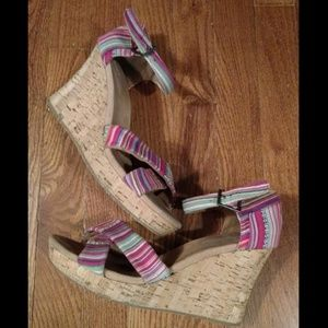 Toms platform cork wedges